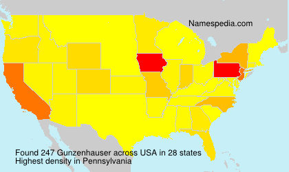 Surname Gunzenhauser in USA