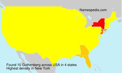Surname Guthenberg in USA