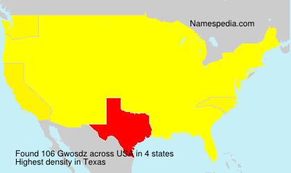 Surname Gwosdz in USA