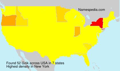Familiennamen Gzik - USA