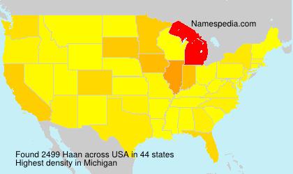 Familiennamen Haan - USA