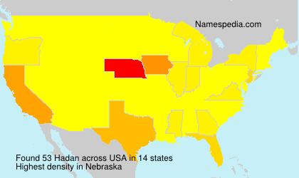 Familiennamen Hadan - USA