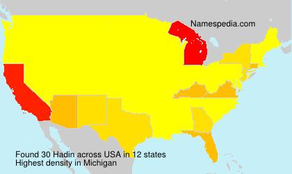 Familiennamen Hadin - USA