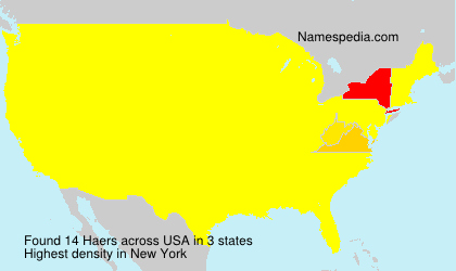 Surname Haers in USA