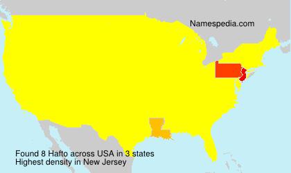 Familiennamen Hafto - USA