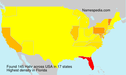 Surname Hahr in USA