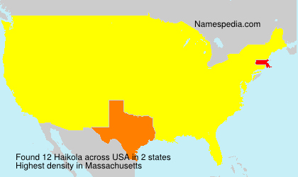 Surname Haikola in USA