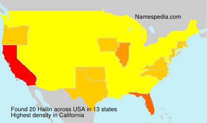 Surname Hailin in USA