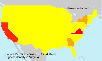 Familiennamen Hairat - USA