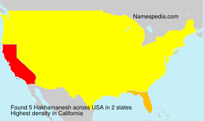 Surname Hakhamanesh in USA