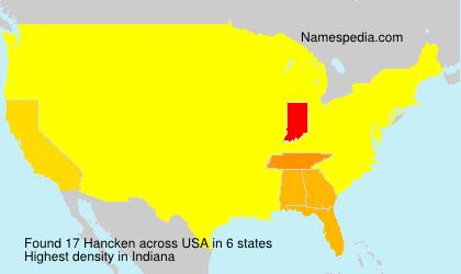 Familiennamen Hancken - USA