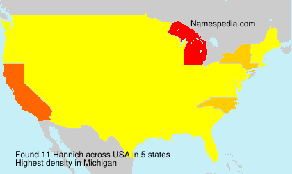 Surname Hannich in USA