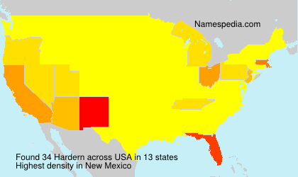 Surname Hardern in USA