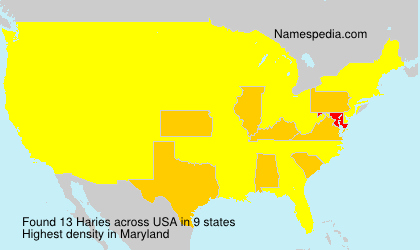 Familiennamen Haries - USA