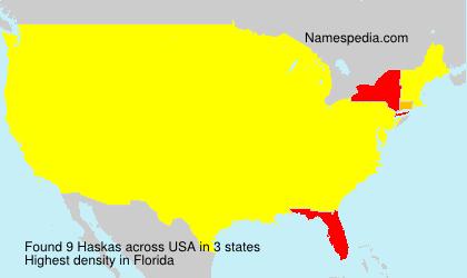 Familiennamen Haskas - USA