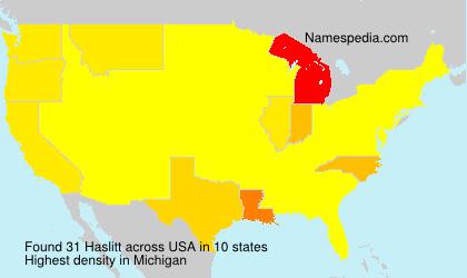 Surname Haslitt in USA