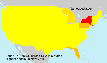 Surname Hasluck in USA