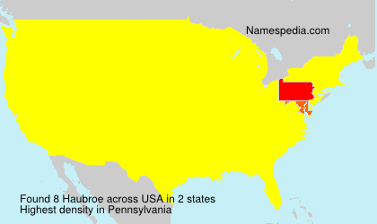 Surname Haubroe in USA