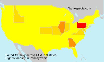 Familiennamen Havy - USA