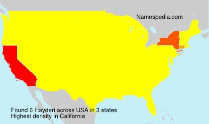 Familiennamen Hayderi - USA