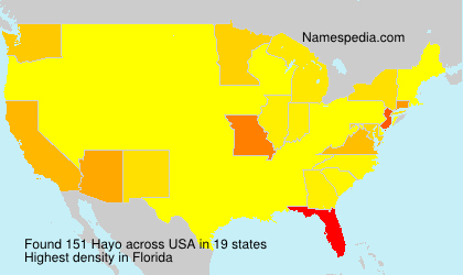 Surname Hayo in USA
