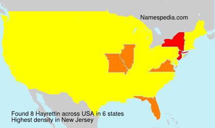 Familiennamen Hayrettin - USA