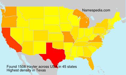 Surname Hayter in USA