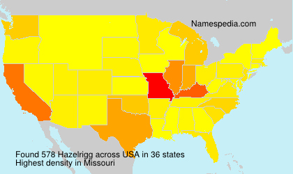Surname Hazelrigg in USA