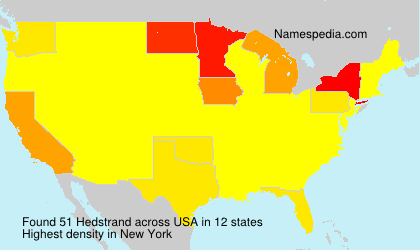Familiennamen Hedstrand - USA