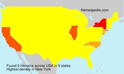 Familiennamen Henaine - USA
