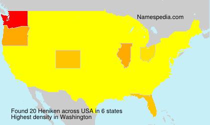 Familiennamen Heniken - USA