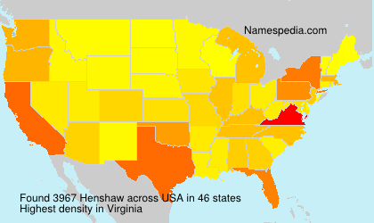 Surname Henshaw in USA
