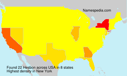 Surname Hesbon in USA
