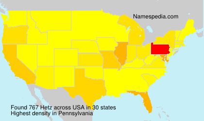 Surname Hetz in USA