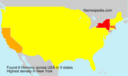 Surname Hevrony in USA