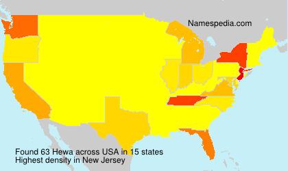 Familiennamen Hewa - USA