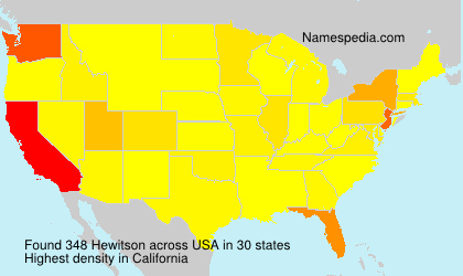 Surname Hewitson in USA