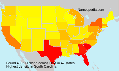 Surname Hickson in USA