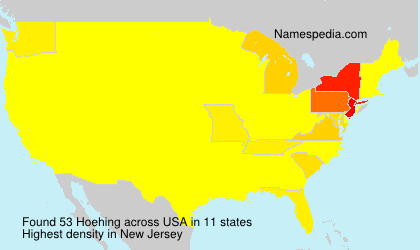 Surname Hoehing in USA