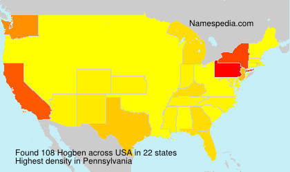 Surname Hogben in USA