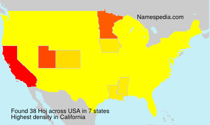 Familiennamen Hoj - USA