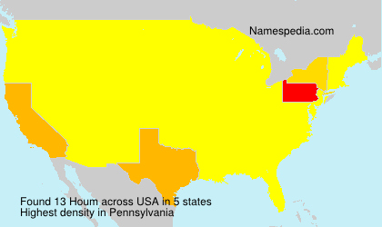 Surname Houm in USA