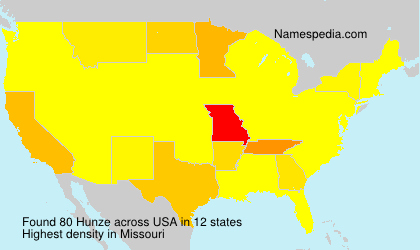 Familiennamen Hunze - USA