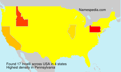 Surname Incelli in USA