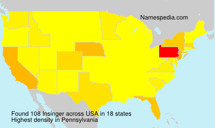 Surname Insinger in USA