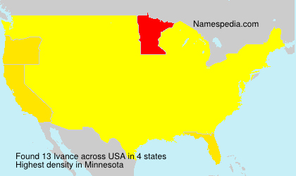 Surname Ivance in USA
