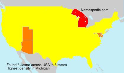 Familiennamen Jastro - USA