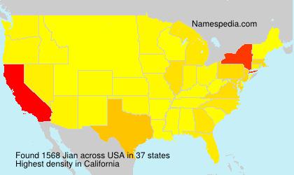 Familiennamen Jian - USA