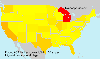 Surname Jonker in USA