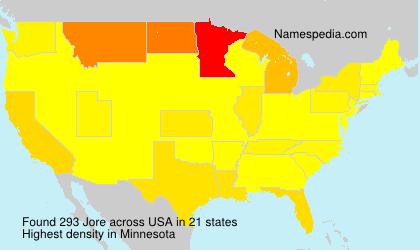 Familiennamen Jore - USA